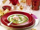 Creamy Spinach Soup with Asparagus and Ham Rolls recipe