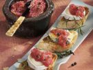 Crostini with Camembert, Gorgonzola and Rhubarb Chutney recipe