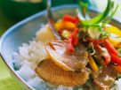 Duck Breast with Rice, Bell Peppers and Peanut Sauce recipe