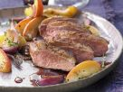 Sliced Golden Duck with Fruit recipe