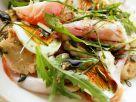 Dumplings with Ham, Egg and Arugula Salad recipe