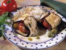 Eggplant Roll with Stuffed Tomato and Olive Sauce recipe