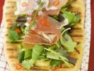 Flatbread Topped with Ham and Mixed Spring Greens recipe