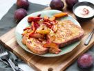 French Toast with Plums and Red Currant Yogurt Dip recipe