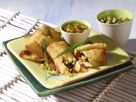 Fried Chicken Spring Rolls with Pistachio Salsa recipe