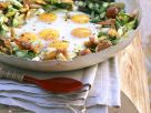 Fried Eggs with Asparagus and Shrimp recipe