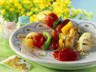 Fried Sausage and Vegetable Skewers recipe