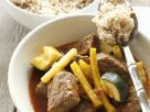 Goulash with Wax Beans and Zucchini over Barley recipe
