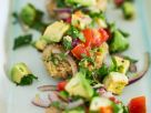 Grain Cakes with Avocado Salad recipe