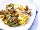 Green and White Pappardelle with Chanterelles and Ham recipe