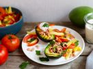Grilled Avocado with Mango-Tomato Salad and Prawns recipe