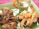 Grilled Lamb Skewers and King Prawn recipe