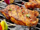 Grilled Pork Steaks with Pink Peppercorns, Vinegar and Tomato recipe