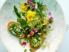 Herbal Flower Salad with Chive Toast recipe
