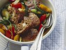 Lamb Burgers with Feta and Antipasti Vegetables recipe