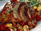Glazed Lamb with Roasted Potatoes and Tomatoes recipe
