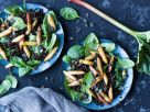 Lentil Salad with Spinach, Rhubarb and Asparagus recipe