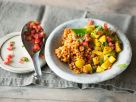 Lentils with Potatoes and Tomato Salsa recipe