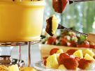Mint Chocolate Fondue with Fruit and Pastries recipe