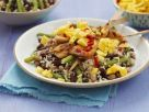 Mixed Beans and Rice with Chicken Skewers and Mango recipe