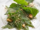 Nettle Salad with Toasted Nuts and Garlic Chips recipe