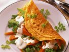 Omelet with Sugar Peas, Carrots and Parlsey recipe