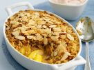 Peach and Almond Flapjack Pudding recipe