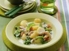 Peas and Potatoes Stew with Cream and Diced Ham recipe