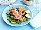 Pesto Shrimp Skewers on Grilled Vegetables recipe