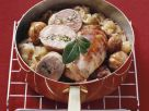 Pistachio-stuffed Pheasant Breast with Glazed Chestnuts and Sauerkraut recipe