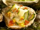 Poached Oysters with Zucchini Salsa and Champagne Sauce recipe