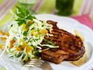 Pork Loin Chop with Fruity Coleslaw recipe