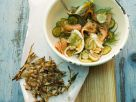 Potato and Salmon Salad with Black Salsify Hash Browns recipe