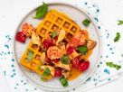 Pumpkin Waffles with Mushroom Prawns recipe
