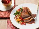 Roast Duck with Apricot Mint Couscous recipe