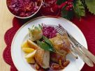 Roast Duck with Vanilla Pears, Red Cabbage and Dumplings recipe