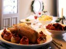 Roast Goose with Baked Apples, Braised Red Cabbage and Potato Dumplings recipe