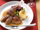Roast Goose with Braised Red Cabbage and Potato Dumplings recipe