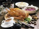 Roast Goose with Chestnut Stuffing, Red Cabbage and Dumplings recipe
