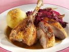 Roast Goose with Red Cabbage and Potato Dumplings recipe