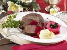 Roast Wild Boar with Mashed Potatoes and Red Wine Poached Pears recipe