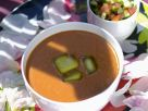 Roasted Red Pepper Gazpacho with Tomato-Cucumber Salad recipe