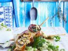 Rolled Chicken Skewers with Favas recipe
