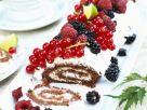 Rolled Chocolate Sponge Roll with Mixed Berries recipe