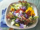 Salad with Edible Flowers, Feta Cheese and Garlic Bread recipe