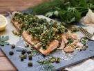 Salmon with Parsley Walnut Pesto recipe