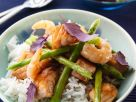 Salmon with Shrimp and Asparagus Cooked in a Wok recipe