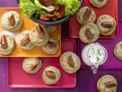 Sausage Crumpets with Salad recipe
