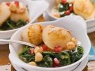 Scallops on Spinach and Chickpea Bed with Pomegranate Seeds recipe