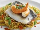 Sea Bass Fillets with Noodles recipe